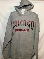 Vtg 90s Lee Sport Chicago Bulls Skyline Lettering Grey Hoodie Sz. L