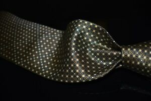 Brioni Made in Italy Liquid Gloss Satin Black Gold Acorn Mosaic Bubble Silk Tie