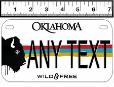 PERSONALIZED ALUMINUM MOTORCYCLE STATE LICENSE PLATE-OKLAHOMA WILD & FREE