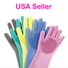US 1-2 Pairs Silicone Cleaning Brush Scrubber Gloves Heat Resistant Dish Washing