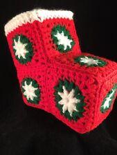 Vtg Handmade Crochet Christmas  Knit Granny Square Boot Decor Craft Decoration