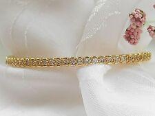 "QVC-Bronzo Italia Crystal Oval Hinged Bracelet- Large-8"""