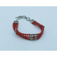 3 Strand .925 Liquid Sterling Silver Mediterranean Red Bamboo Coral Bracelet