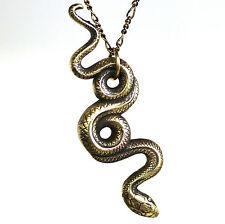 Solid Golden Bronze Garden Snake Pendant Necklace Serpent Reptile Asp 091