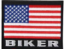 AMERICAN FLAG BIKER  EMBROIDEERED BIKER PATCH   iron on