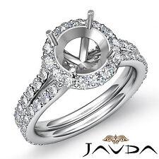 Diamond Engagement Vintage Ring Round Semi Mount Halo Pave Set Platinum 950 1.3C