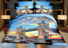 3 tlg.3D Effekt Bettwäsche Bettbezug Bettgarnitur 155x200cm London Bridge Themse