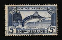 Pre-decimal, New Zealand Ultramarine 5d SWORDFISH, SG 563 1935