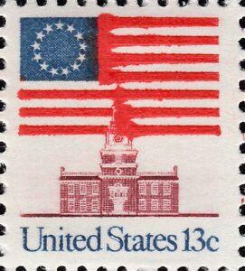 US 1622 @ (1975) 13c EFO:Error - Ink smear on stamps & bleeding.. {Full Sheet}