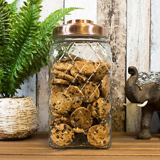 4 Ltr Glass Storage Jar Copper Lid Cookie Biscuit Barrel Flour Sweets Rice Pasta
