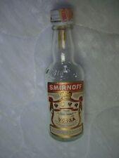 Vintage Smirnoff Vodka Clear Glass Mini Bottle/Paper Label/10th Pint/Tax Stamp