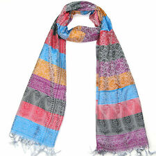 Womens Striped Silk Scarf - Ladies Colourful Scarves - Girls shawl Wrap Lovarzi