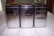 Vintage 1950's Kreamer Ware 4 Pc. Chrome Canister Set with Lids