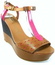 1c9cb7a205997 Juicy Couture Kati Womens Size 8 Tan Open Toe Leather Wedges HEELS Shoes