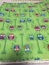 """SITTING PRETTY OWLS on LIME GREEN Cotton Fabric per yd 44"""" quilt sew craft"""