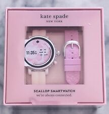 NEW KATE SPADE Silver Case White & Pink Straps Touchscreen Smartwatch KST2018SET