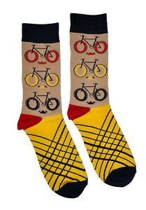 Mens Crew Socks Bicycle 1 Pair Bike Themed Patterned Trouser Beige Gift for Him
