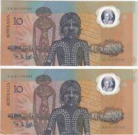 AUSTRALIA$10 Bicentennial Commemorative Consecutive Prefix SAME NUMBER Pair aUNC