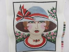 Lee SPM271 VOGUE LADY WITH HAT Hand-Painted Needlepoint Canvas + Thread NEW