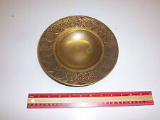 "Vintage Brass Dish Made in Korea Oriental Coin Pattern Great Patina 8"" diameter"