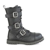 Riot 12 Goth Combat Biker Steel Toe Ankle Boots Black V Leather Men's 11-14 NY
