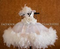 NEW Baptism Dress, Christening Gown With Feathers, Pageant Gown, Size 0-18 Month