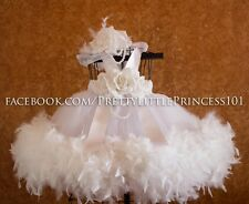 BAPTISM DRESS, CHRISTENING DRESS WITH FEATHERS, PAGEANT DRESS, Size 3-6 months