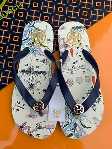 Tory Burch PVC Flip Flop Flops Thong Flat Sandals NAVY POETRY OF THING Many Size