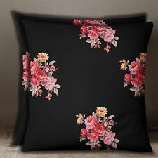 Decorative Floral Print Cotton Poplin Black Cushion Cover 1 Pair Pillow Case