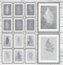 Beautiful Grey Leaves Wall Botanical prints, grey Plants home decor print GG33