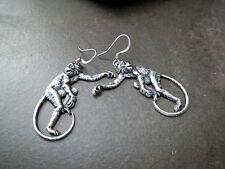 Handmade Oxidized Silver Monkey Earrings