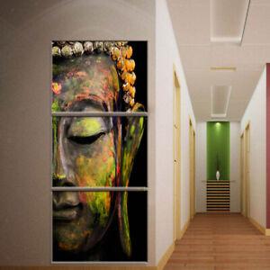 3 Panels Canvas Wall Art Abstract Buddha Head Oil Paintings Xmas Gift