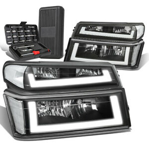 For 2004-2012 Colorado Canyon LED DRL Tube Headlight Bumper Lamp+Tool Box Clear