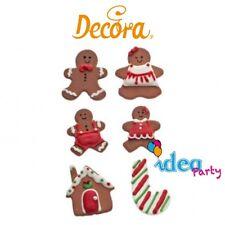 6 gingerbread  decorazioni in zucchero natale dolci torte PASTA ZUCCHERO marzapa