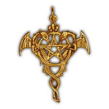 Siegel der Hexerei – Anhänger Draco-Pentagramm – Silber vergoldet