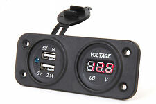 MARINE BOAT RV WATERPROOF DUAL USB SOCKET CHARGER AND VOLTMETER PANEL