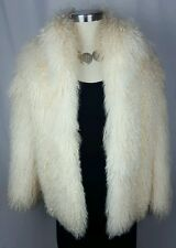 Mongolian Fur Coat Tibetan Shaggy Curly Lamb Sheep Oversized Jacket M L NWOT