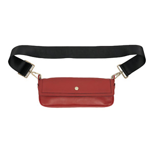 Burberry Cherry Red Women's Lettering Belt Long Mini Clutch Bag