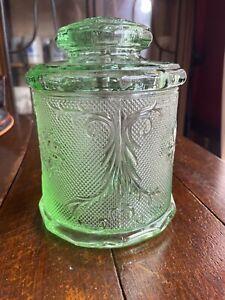 Rare Beautiful Art Deco depression Glass lidded jar