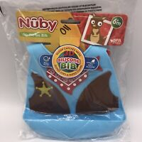 On The Go Bib - Nuby - 3D Silicone BPA Free Blue Sheriff Shirt Cowboy New 6m+