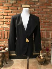 VTG 90s Kasper CHIC lined Black Gold Buckle Accent Dressy Blazer Jacket sz 10