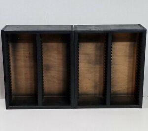 Lot Pair Of 2 Wood & Black Plastic 50 CD Each Storage Rack Towers