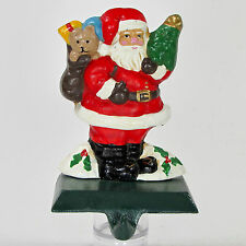 "Cast Iron SANTA & TOY SACK 5.25"" Stocking Hanger Christmas Evergreen Tree Teddy"