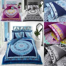 Paisley Mandala Pink Blue And Grey Duvet Bedding Cover Set With Pillow Case New