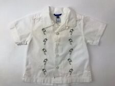 Baby Gap White Shirt Tropical Palm Tree Short Sleeve Button Down Baby Boy 6-12 M