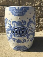 Vintage Chinese Handpainted Blue Floral Porcelain Outdoor Garden Stool Bench