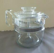 Vtg Pyrex Flameware 7754 B  4 Cup Glass Stovetop Percolator Coffee Pot Complete