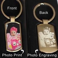 Personalised Metal Keyring Photo Printed front & Art,text ENGRAVED- Free Gifbox