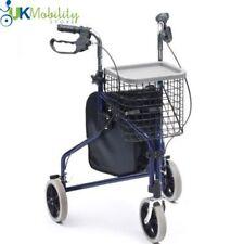 Lightweight Tri walker rollator 3 wheel walking frame With bag basket & tray
