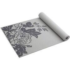 "Gaiam Yoga Mat NEW Gray Peony Prosperity Print Non Slip 68""x24"" 3mm Durable Home"